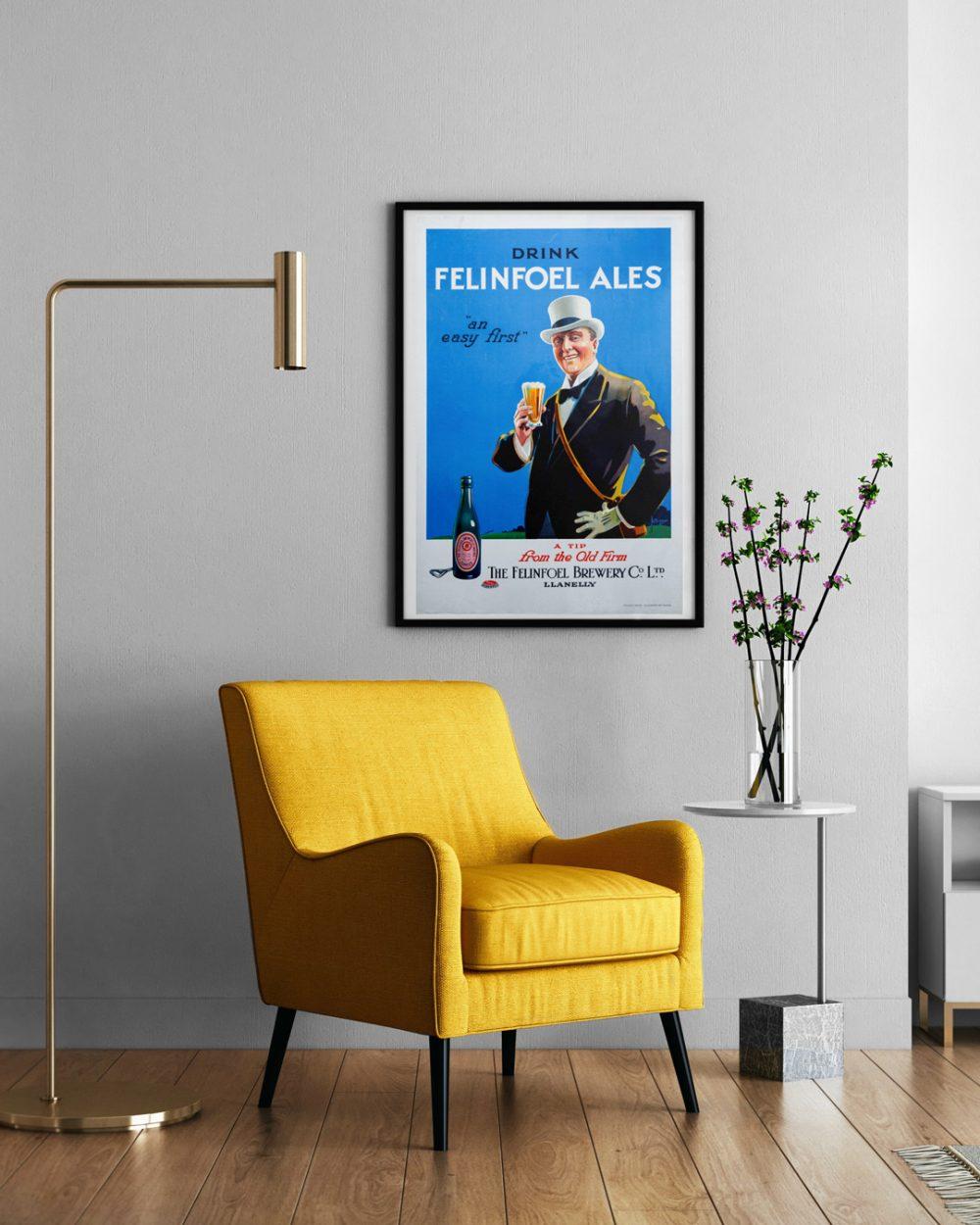 Vinatge Felinfoel Poster Living Room